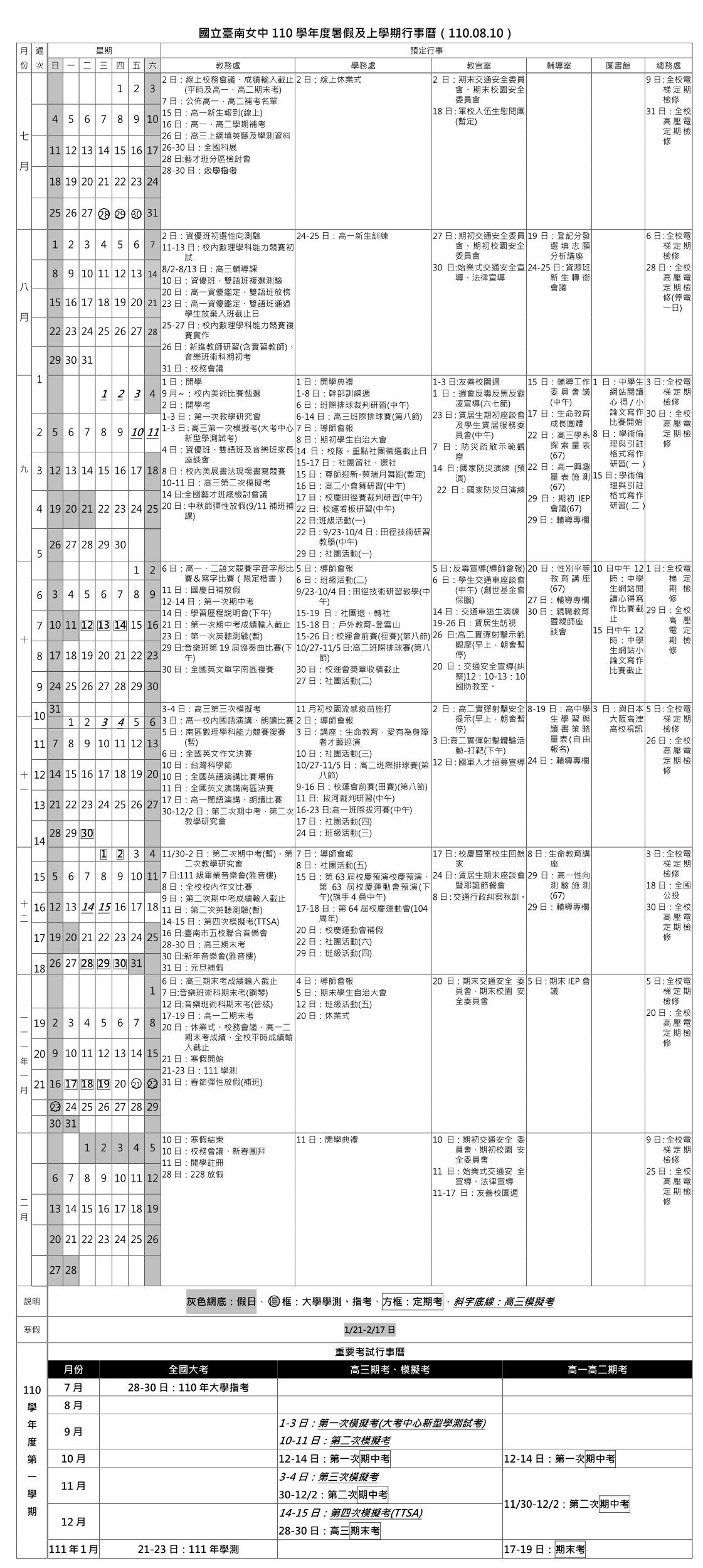 110-1學期行事曆